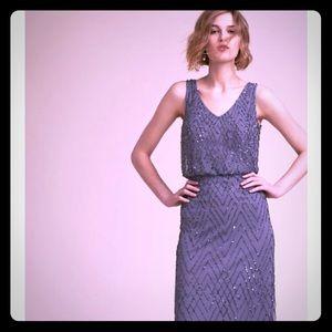 Anthropologie women's long grey dress